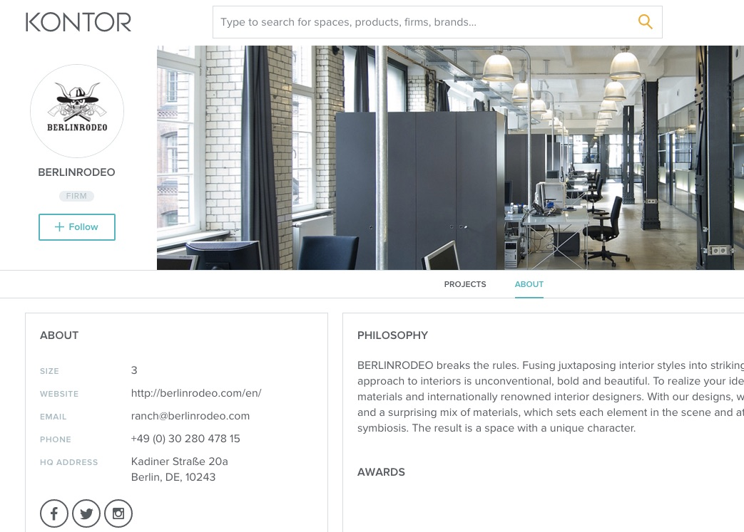 screenshot of BERLINRODEO profile on Kontor