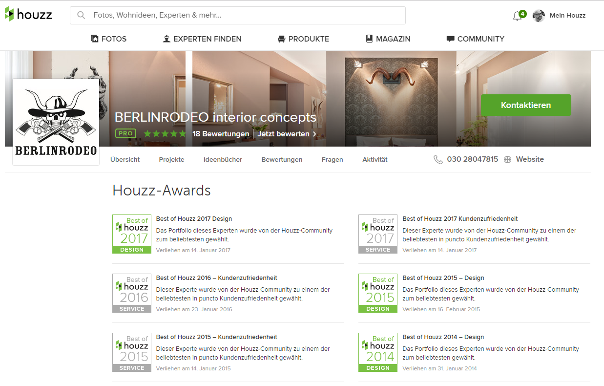 Best-of-houzz-2017 Award für BERLINRODEO innenarchitekten und interior designer